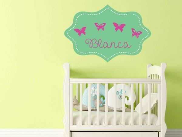 Vinilo Infantil Etiqueta Verde Mariposas Personalizado | Carteles XXL - Impresión carteleria publicitaria