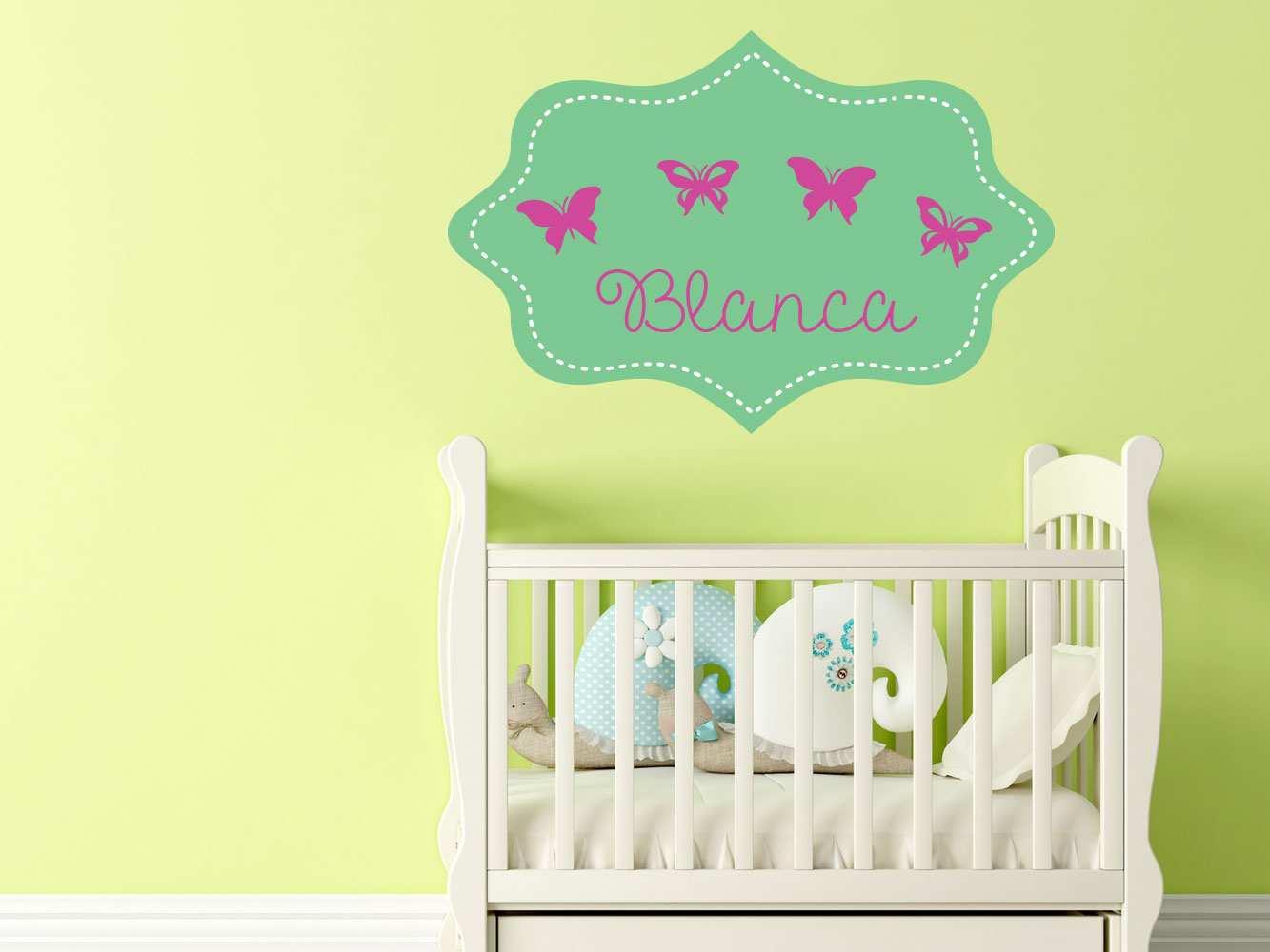 Vinilo Infantil Etiqueta Verde Mariposas Personalizado   Carteles XXL - Impresión carteleria publicitaria