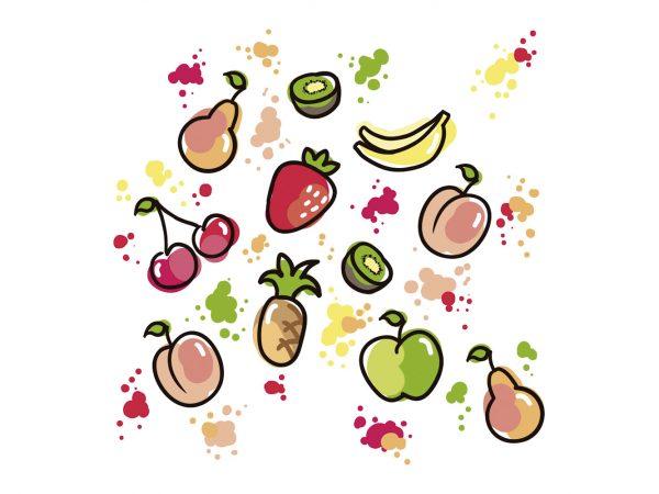 Vinilo Infantil Frutas Acuarelas | Carteles XXL - Impresión carteleria publicitaria