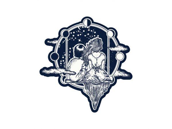 Vinilo Infantil Madre e Hijo Astronomía | Carteles XXL - Impresión carteleria publicitaria