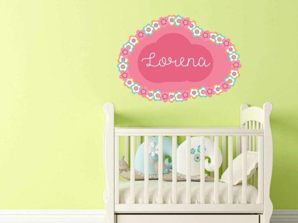 Vinilo Infantil Nube Floral Personalizado | Carteles XXL - Impresión carteleria publicitaria
