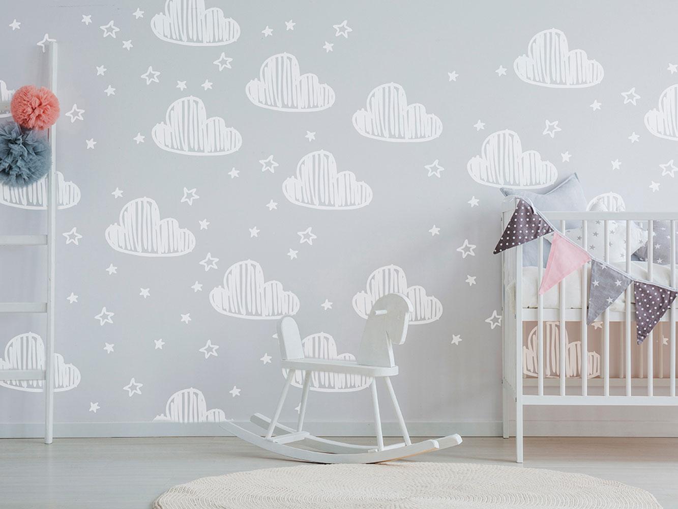 Vinilo Infantil Nubes y Estrellas Tiza | Carteles XXL - Impresión carteleria publicitaria