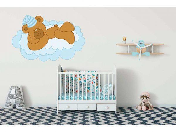 Vinilo Infantil Osito Nube Azul | Carteles XXL - Impresión carteleria publicitaria