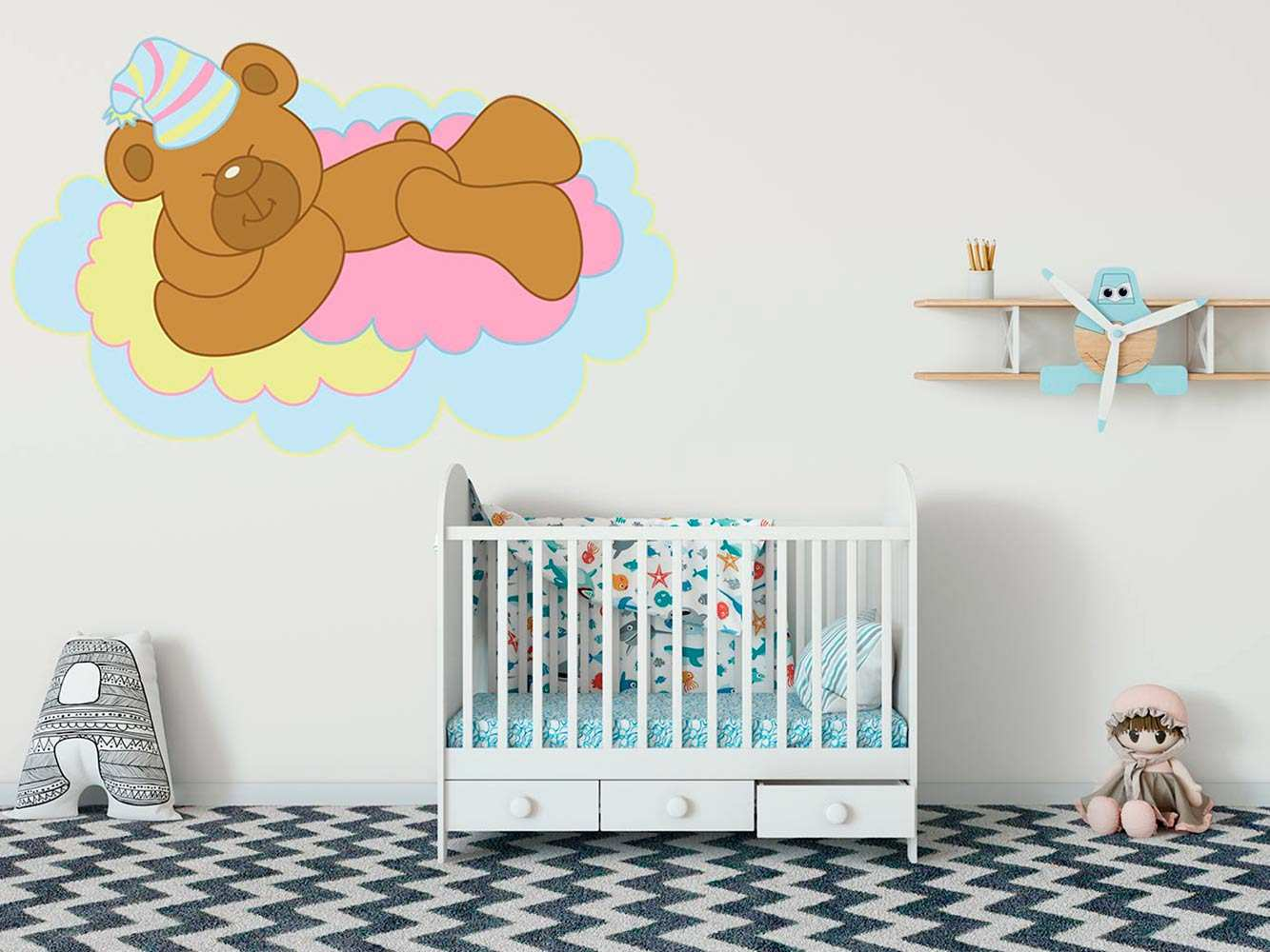 Vinilo Infantil Osito Nube Colores | Carteles XXL - Impresión carteleria publicitaria