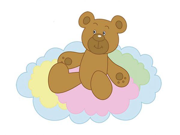 Vinilo Infantil Ositos Nubes y Globos Colores | Carteles XXL - Impresión carteleria publicitaria