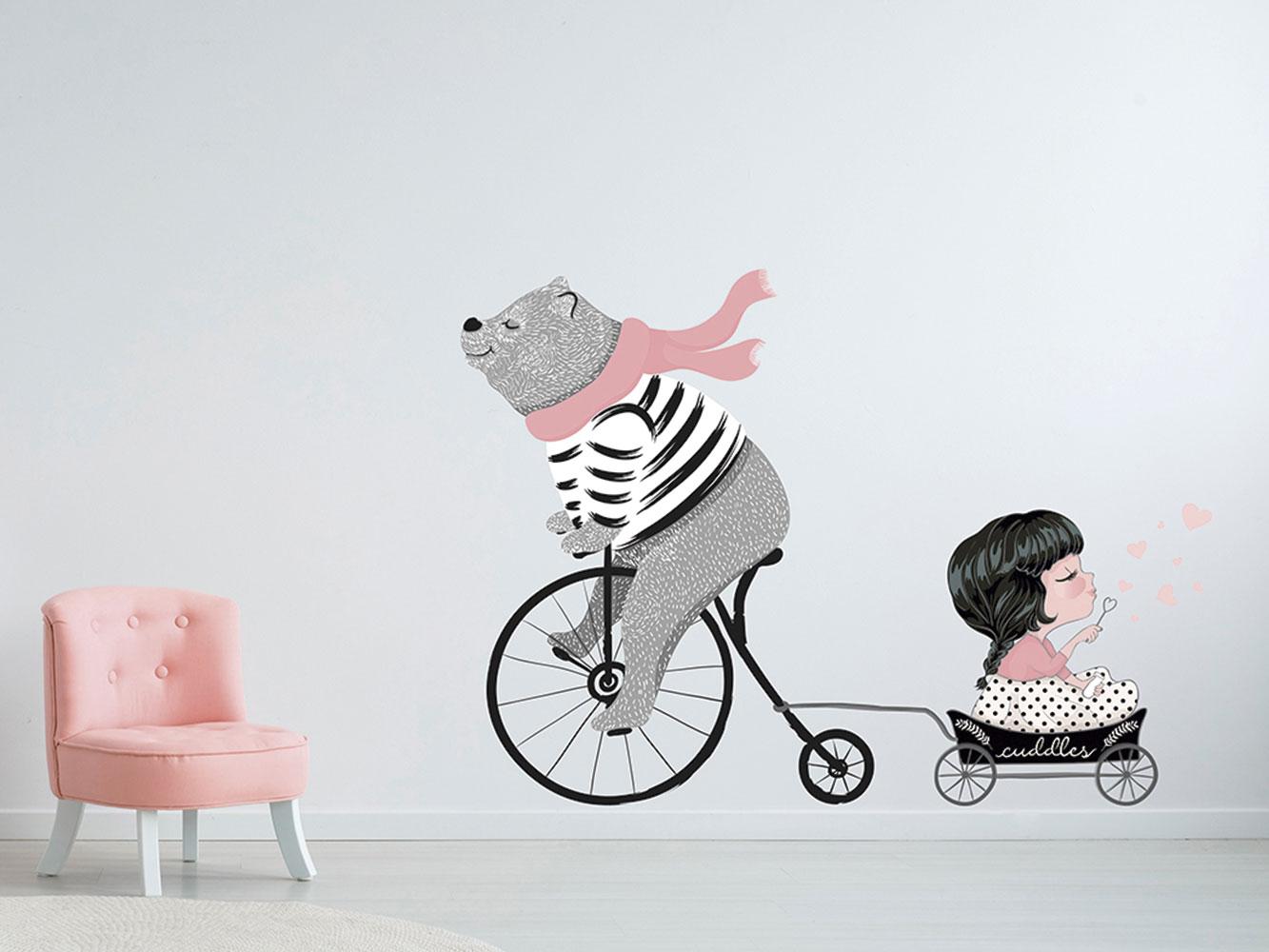 Vinilo Infantil Oso Bicicleta y Niña   Carteles XXL - Impresión carteleria publicitaria