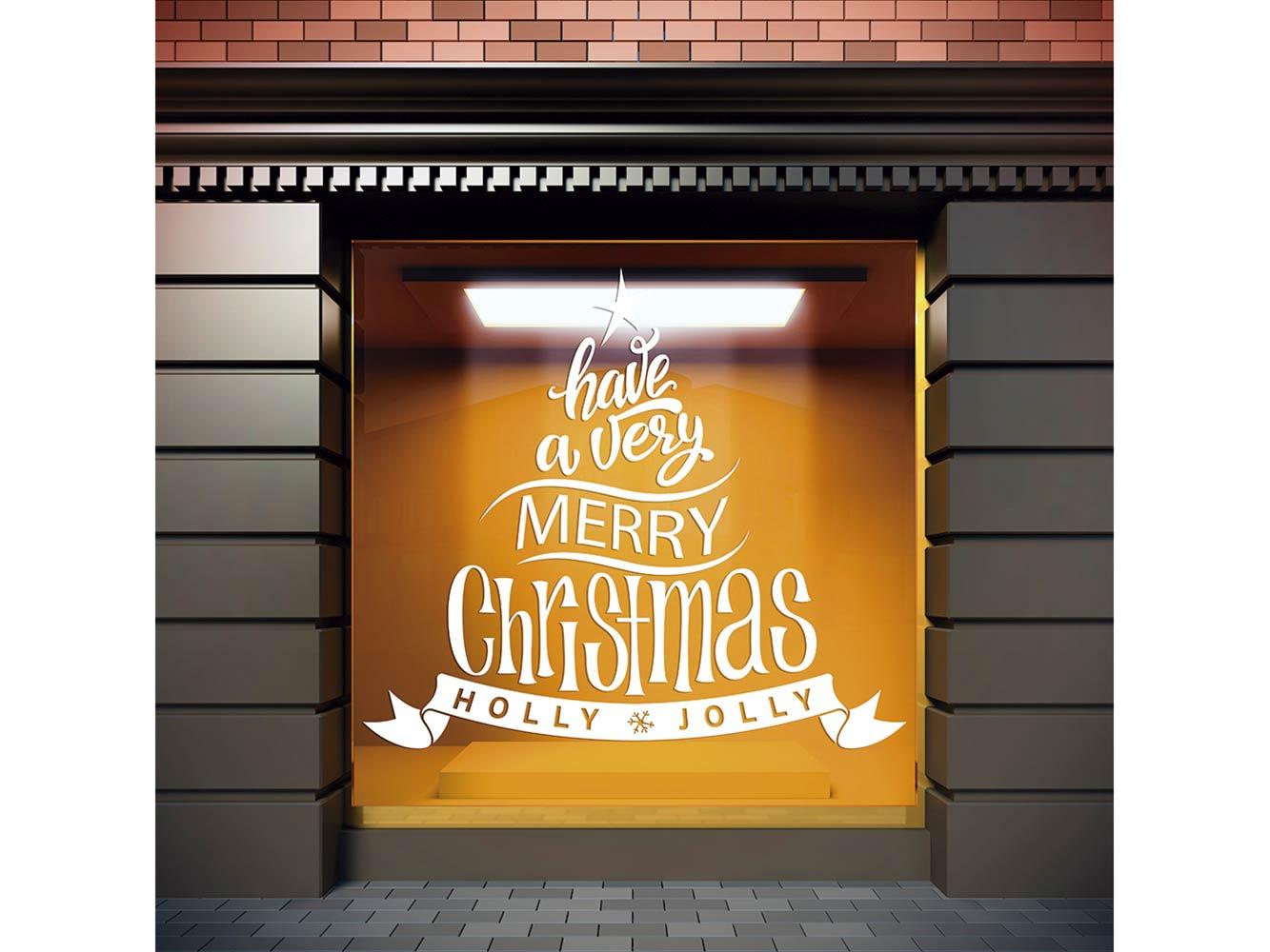 Vinilo Navidad Árbol Holly Jolly | Carteles XXL - Impresión carteleria publicitaria