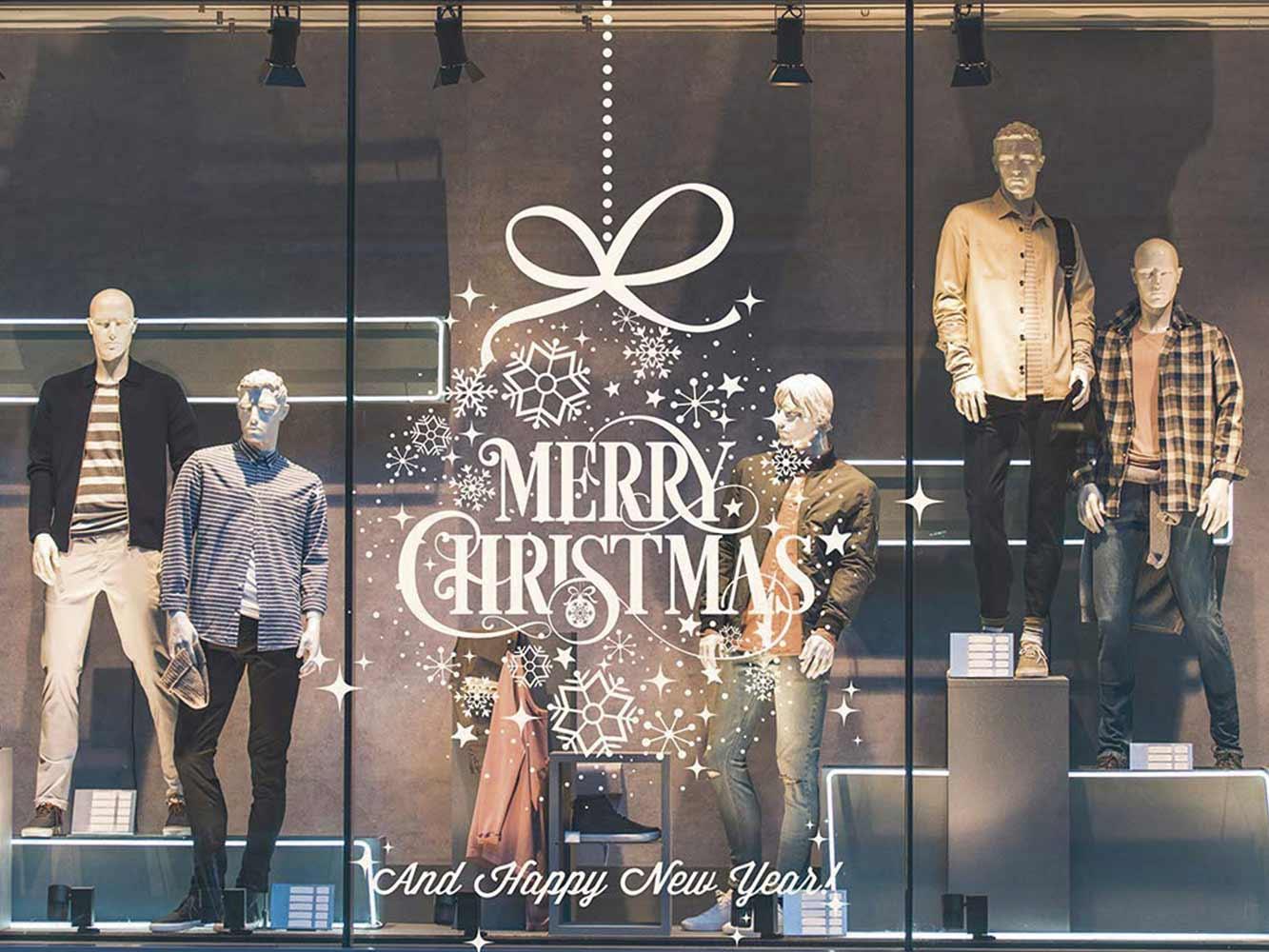 Vinilo Navidad Copos Nieve Merry Christmas | Carteles XXL - Impresión carteleria publicitaria