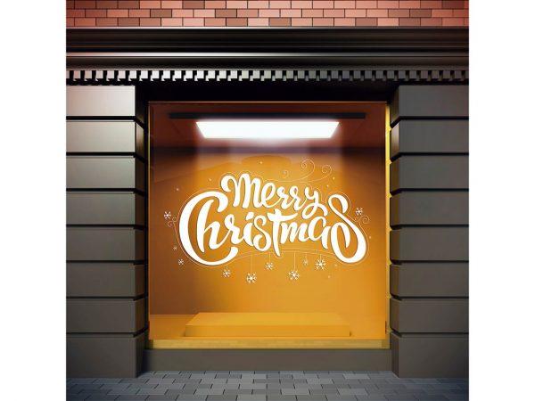 Vinilo Navidad Merry Christmas Estrellas Blancas | Carteles XXL - Impresión carteleria publicitaria