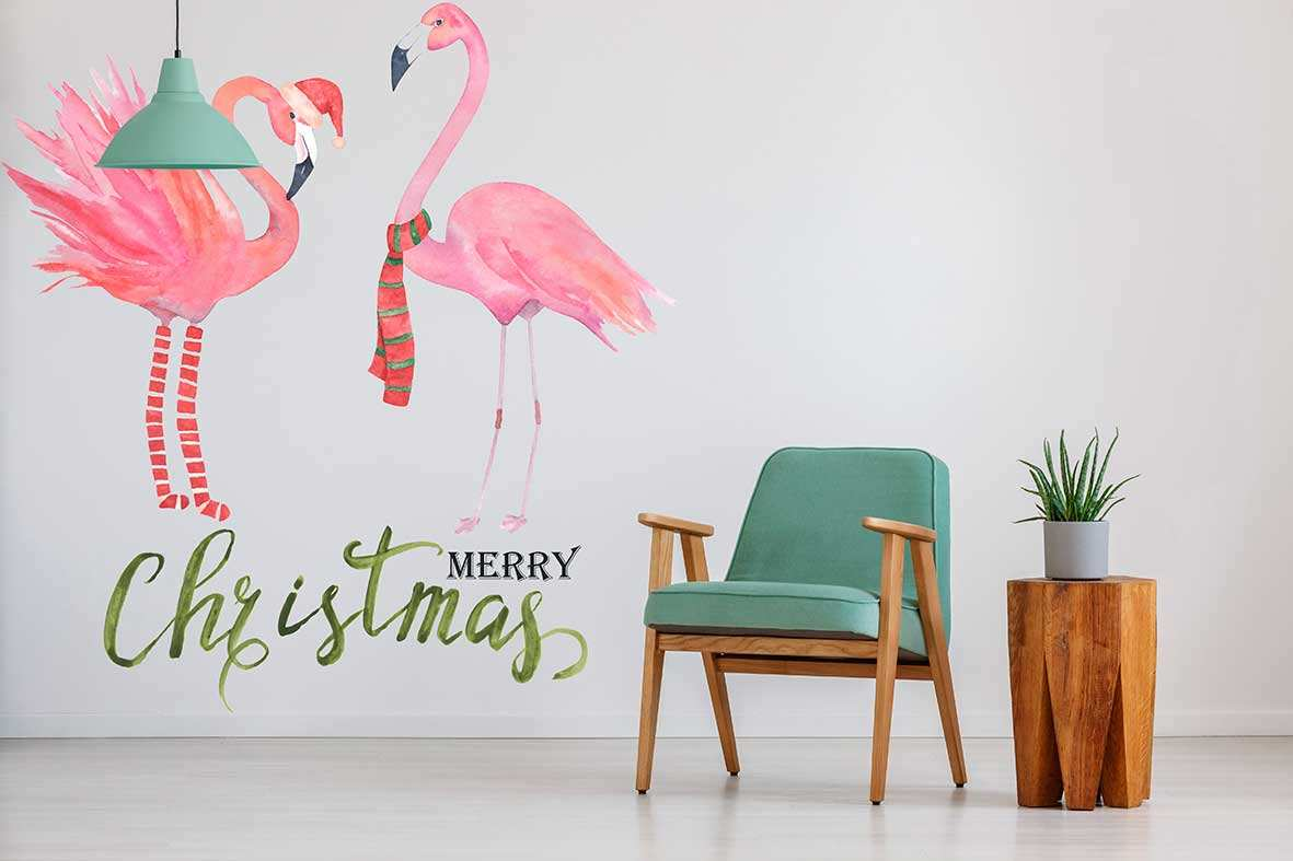 Vinilo Flamencos Merry Christmas   Carteles XXL - Impresión carteleria publicitaria