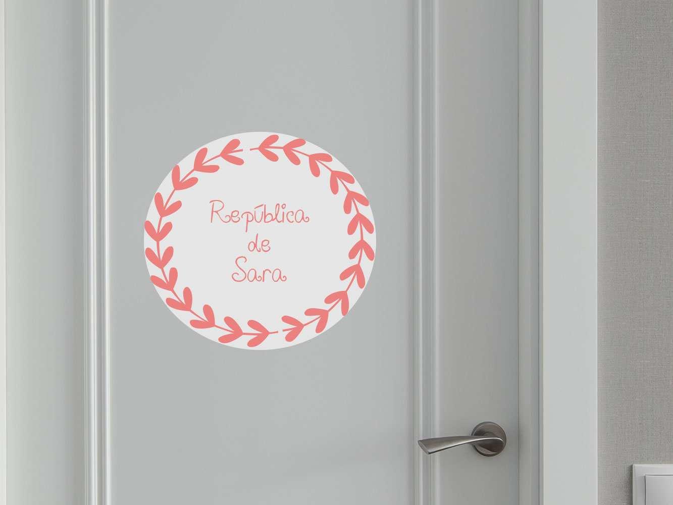 Vinilo Puerta Corona Espigas República Personalizado | Carteles XXL - Impresión carteleria publicitaria