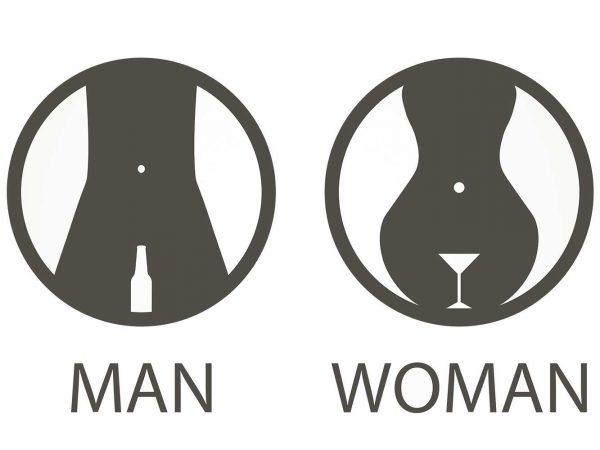 Vinilo Puerta WC Copas Hombre y Mujer | Carteles XXL - Impresión carteleria publicitaria