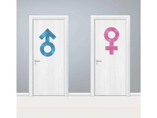 Vinilo Puerta WC Signos Azul y Rosa | Carteles XXL - Impresión carteleria publicitaria