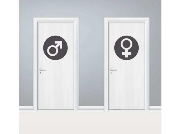Vinilo Puerta WC Circulos Masculino y Femenino | Carteles XXL - Impresión carteleria publicitaria