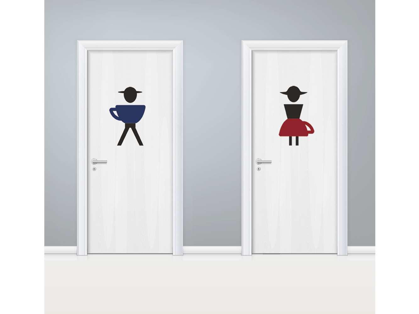 Vinilo Puerta WC Tazas Masculino y Femenino | Carteles XXL - Impresión carteleria publicitaria