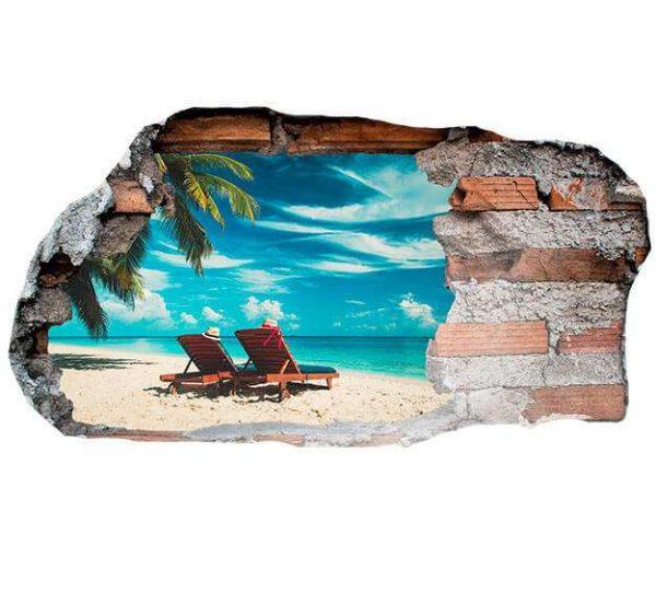 Vinilo 3D Playa Paradisíaca 2 | Carteles XXL - Impresión carteleria publicitaria