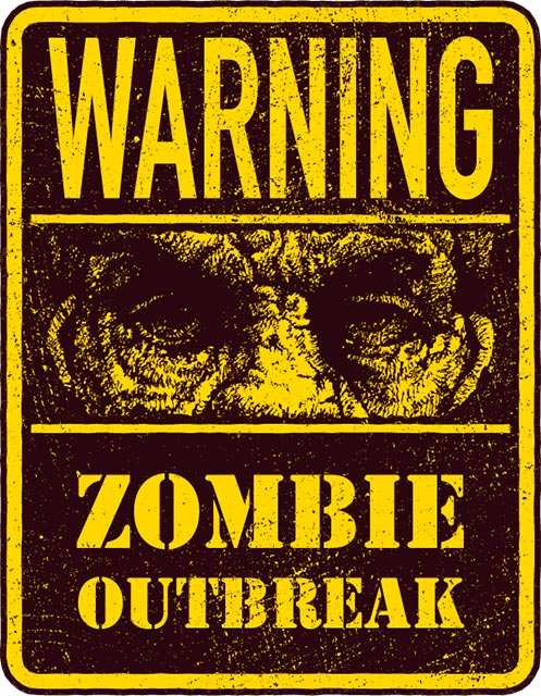 Vinilo Decorativo Warning Zombies | Carteles XXL - Impresión carteleria publicitaria
